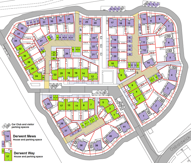 Map of Stephenson Quarter, showing car parking spaces.
