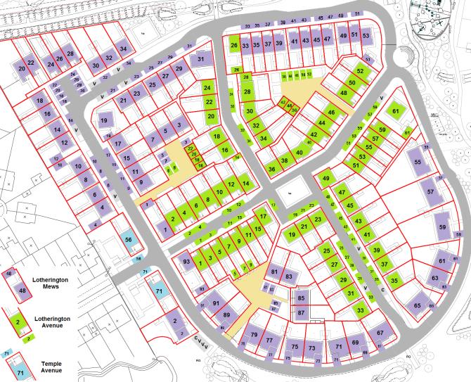 Map of Lotherington Quarter, showing car parking spaces.