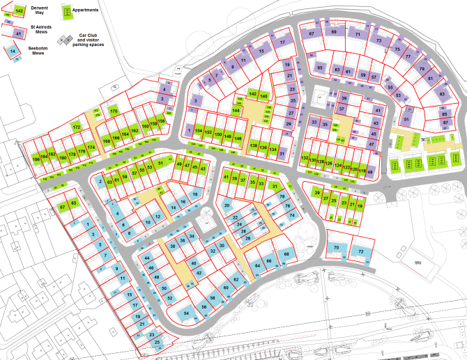 Map of western half of Seebohm Quarter, showing car parking spaces.