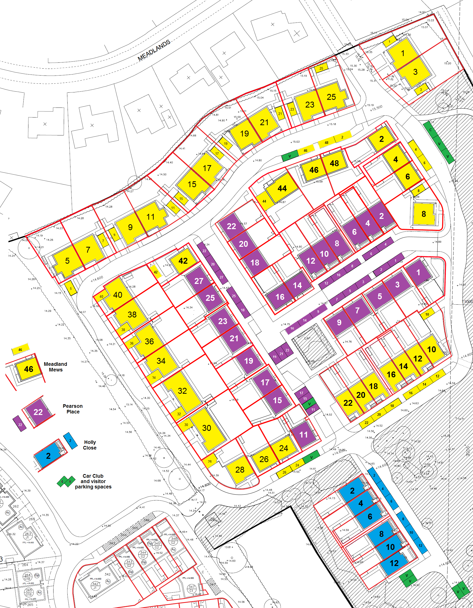 Map of Rowntree Quarter, showing car parking spaces.