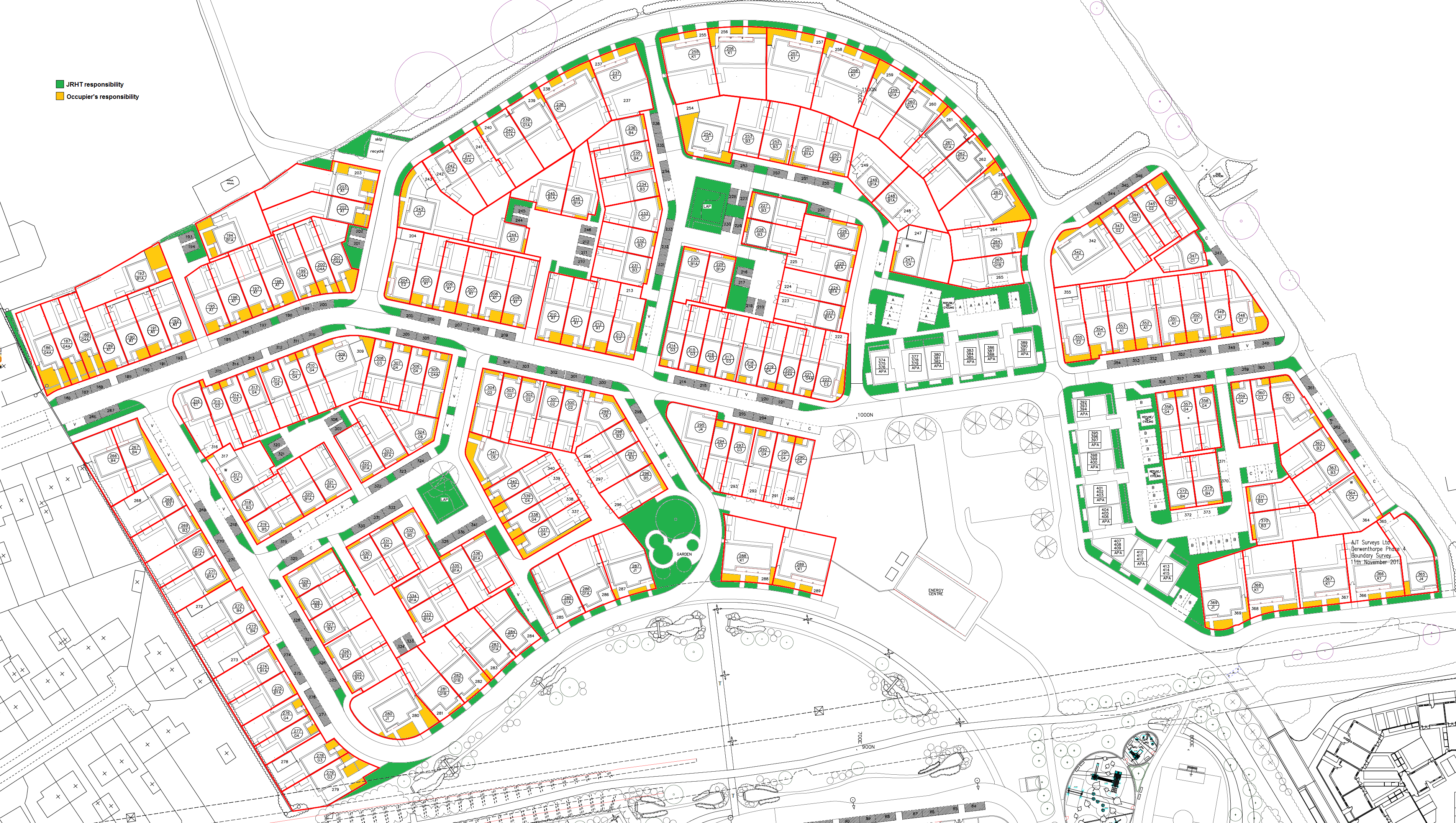 Map of all Seebohm Quarter, showing car parking spaces.